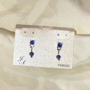 Blue crystal dangle dainty earrings New